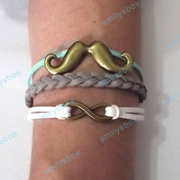 beard bracelet, infinity bracelet, beard charm and infinity charm, men&#x27;s women&#x27;s leather bracelets, braided bracelets
