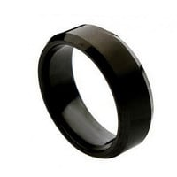 Titanium Wedding Band - Black Titanium Ring Brushed Center Beveled Edge 8mm