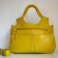 Leather Handbag Satchel Tote Yellow