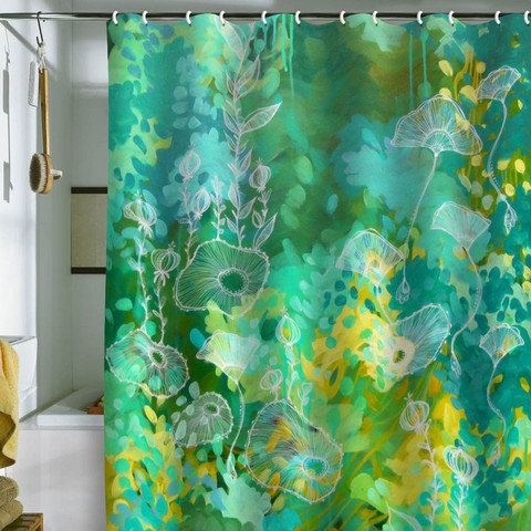 Stephanie Corfee Green Tea Shower Curtain