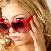 Red Sun glasses - Lolita Style Swarovski Crystal Sunglasses | UsTrendy