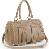 retro sparking tassels rivet woman shoulders bag-khaki-not black