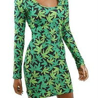 Pot Weed Marijuana Print Long Sleeve Bodycon Dress
