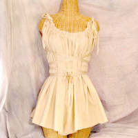 Ivory Gretel Tunic Dress Knee Length Corset Ribbon Tie Belt Tattered Womens