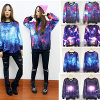 doshow  Chic Women&#x27;s Galaxy Space Starry Print long Sleeve Top Round T Shirt Jumper Top fs62