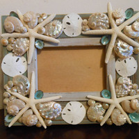 Beach Decor Seashell Picture Frame - Shell Picture Frame - Shell Frame - Seashell Frame - Coastal Home Decor, Beach Wedding