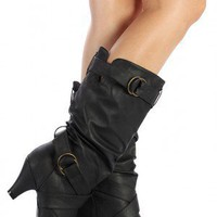 Wild Diva Reva-20N Buckle Knee High Boot