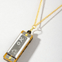 "Harmonica Necklace | 1"" Silver Harmonica Necklace 