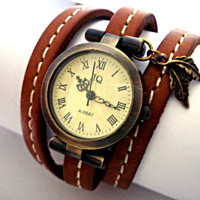 AUTUMN WrapWatch  working bronze wrist watch by VillaSorgenfrei