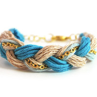 Blue friendship bracelet, organic cotton bracelet