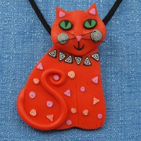 Orange Cat Pendant converts to Brooch, Happy Smiling, Polymer Clay
