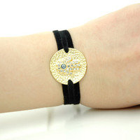 Gold Plated Hand of Fatima, Hamsa Hand Guardian Bracelet , Black Velvet Cord Wrap Bracelet , Blue Evil Eye Bracelet , Mothers Day Gift Idea