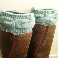 Pastel mint green Boot Cuffs - Handknit Mint Leg Warmers - Cable knit boot toppers - WINTER SALE - Winter fashion 2013