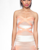 Slash Bandage Dress in Salmon Combo :: tobi