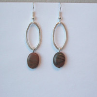 Red Picasso Jasper Earrings with Silver Metal Oval Hoops