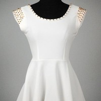 White Peplum Hi Low Studded Top   Tanny&#x27;s Couture LLC