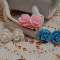 set of 3 rose earring,Flower Earring Set-Pink Turquoise,hypoallergenic earring stud