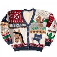 Texas Horse Tacky Ugly Cardigan Sweater Women's Size Medium (M)