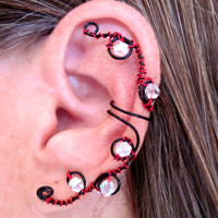 "Non Pierced ""Gothic Crystal"" Ear Wrap Cartilage Cuff"