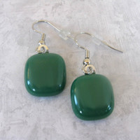 Dangle Glass Earrings Dark Green Drop Earrings by mysassyglass