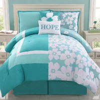 Amazon.com: Reversible Aqua Splash Hope Bed in a Bag Aqua/Teal/White: Home & Kitchen