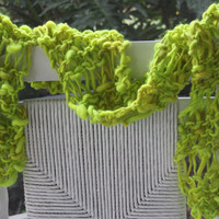 Hand Knit Scarf in Bright Green Handspun Hand Dyed  by bpenatzer