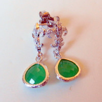 Palace Green Drops with Fluer de Lis Cubic Zirconia Post Earrings, Sterling Silver