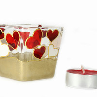 Hand Painted Glass  Candle Holder Tea light   mini candle holder  White red hearts  gold home decor