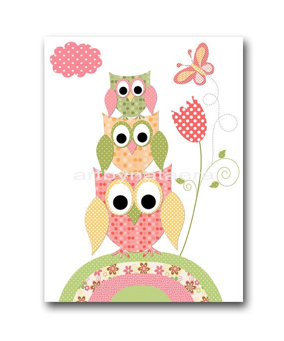 Baby wall art baby girl room decor owls from artbynataera on for Baby owl decoration