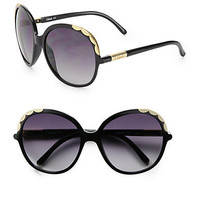 Chloé - Rounded Acetate Scalloped Sunglasses/Black