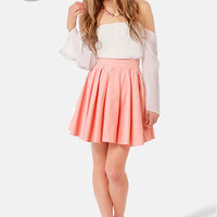 LULUS Exclusive Charm School Peach Mini Skirt