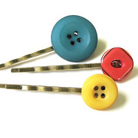 Dark Teal Yellow and Red Button Bobby Pin by PeacockWhatYouLove