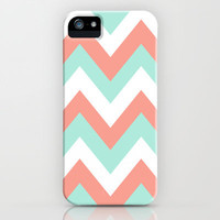 TEAL & CORAL CHEVRON iPhone Case by nataliesales | Society6