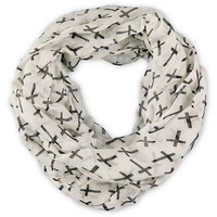 D&amp;Y White Cross Print Infinity Scarf
