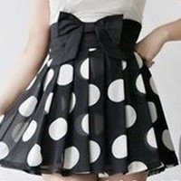 Oh My! Fashion  Pleated Polka Dot Skirt with High Waist Bow