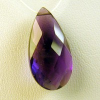 Dark Amethyst Pear Cut Teardrop Briolette Side Drilled 20mm