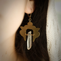 Crystal Urn Earrings // Brass and Quartz Crystal