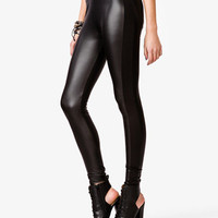 Faux Leather Contrast Leggings | FOREVER 21 - 2037671913