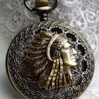 Indian head pocket watch,  men&#x27;s indian pocket watch with black and bronze beads on watch chain