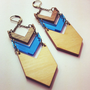 Wood and Mirror Blue Long Chevron Earrings