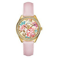 Guess Ladies Watch W70028l1 Pink Leather Band Gold Case with Flowers