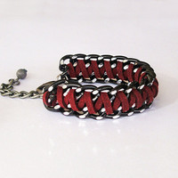 Oxblood Braided Chain Bracelet, Braided Cuff Bracelet, Black Chunky Chain and Fiber in Burgundy Red