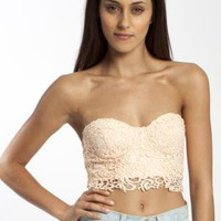 Peach Lace Strapless Crop Top