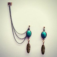 alapop  turquoise/green and gold feathers ear cuff earrings