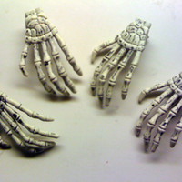 1 White skeleton hand hair clip