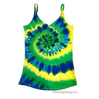 CLEARANCE: Juniors Large Blue Green Yellow Spiral Tie Dye Tank Top