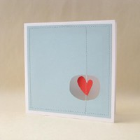 Supermarket: blue heart mobile greeting card from fold