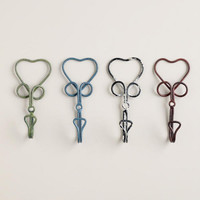 Wire Heart Hooks, Set of 4