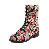 Floral Canvas Lace-Up Bootie: Charlotte Russe