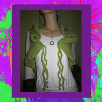 Apple Green Ruffled Bolero Vest With Hoodie Funky by ArtisticFunk